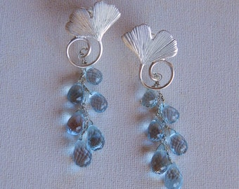 ginko earrings in sterling silver with blue topaz drops