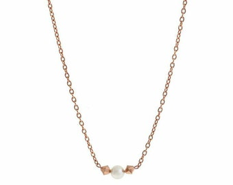 Bridesmaid jewellery necklace, rose gold swarovski, bridal jewelry, pearl necklace, gift for bride girlfriend wedding
