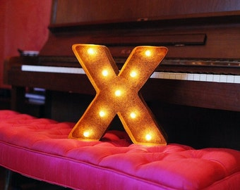 """SALE - Letter Light X - RUSTY - 12"""" Vintage Marquee Lights-The Original!"""