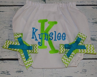 Personalized  BABY BLOOMER Diaper Cover with Monogram and Bows, Monogrammed Baby Girl Bloomers