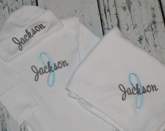 PERSONALIZED Coming Home Outfit  Infant Gown Cap and blanket set Monogrammed