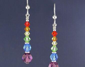 Swarovski Crystal Earrings in Sterling Silver - Rainbow Earrings