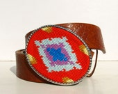 Needlepoint  Poppy Bright South West Inspired Belt buckle