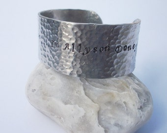 Pick Your Saying - One Inch Textured Aluminum Cuff - Hand Stamped Cuff Bracelet - Message On Inside Or Outside