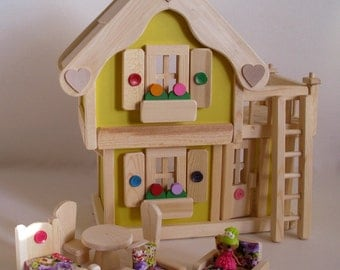 Wooden Dollhouse, Natural Wood Toy Doll House Furniture set, Waldorf, Kids gift, Handmade toy, Jacobs Wooden Toys 'SUNNY DAFFODIL'