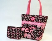 Paisley Fabric Little Girls Purse Coin Purse Set Mini Tote Bag Childs Purse Kids Bag Pink Brown Handmade MTO