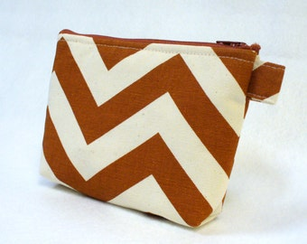CLEARANCE SALE Zig Zag Chevron Fabric Gadget Pouch Cosmetic Bag Zipper Pouch Makeup Bag Cotton Zip Pouch Rust Natural