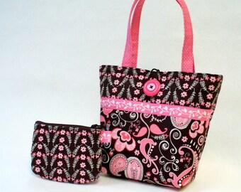 Paisley Fabric Little Girls Purse Coin Purse Set Mini Tote Bag Childs Purse Kids Bag Pink Brown Handmade MTO
