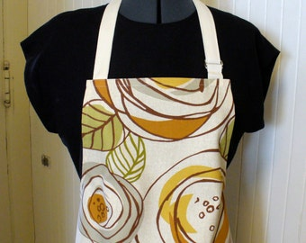 Retro Floral Womens Apron Full Apron Chefs Apron Adjustable Apron Gray Olive Rust Mustard Handmade MTO