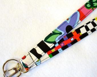 Colorful Multi Stripe Womens Lanyard Fabric Lanyard Breakaway Lanyard ID Badge Holder ID Clip Key Ring Fob Luella Doss Hot Flash