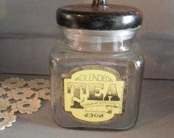 Vintage Glass TEA Jar with Wooden Lid ... Rustic Farm house