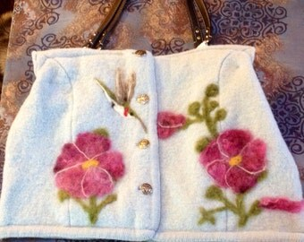Felted Wool Purse with Hummingbird and Hollyhocks
