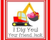 Valentine Sticker, Tag, Enclosure Card - DIGGER - Set of 24