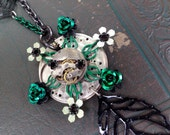 green and black floral watch mechanism necklace - 489
