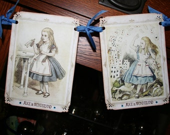 Alice in Wonderland Banner / Garland /  Watercolors with crystal rhinestones
