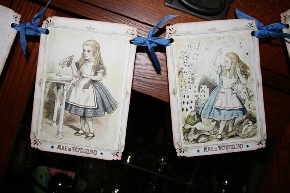 Alice in Wonderland Banner / Garland /  Watercolors with crystal rhinestones
