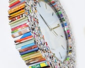 clock wall art, kitchen clock, made from recycled magazines, colorful, unique, blue, green, red, purple, pink, yellow, orange