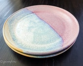 Set of 2 Sunrise Plates Wheel Thrown Ceramic Stoneware Pottery by GemFOX SRA USA Pink Blue