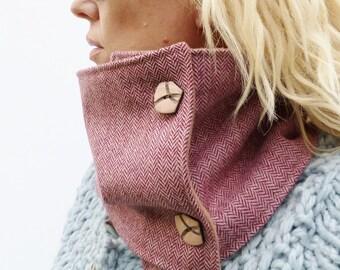 Womens Neckwarmer Scarf - Rasberry Pink Irish Herringbone Tweed