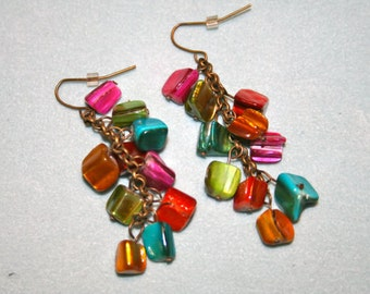 Color Burst Shell dangle earring