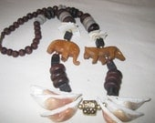 vintage 1970s Welcome to the Jungle - Wood Bead Necklace with Shells and Animals