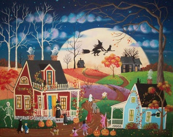 By the Light of the Moon Folk Art Halloween Print