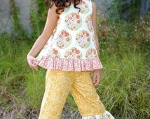 Frolic Open Back Top and Ruffled Capris pattern for girls sizes 2T 3T 4 5 6 7 8 10 12