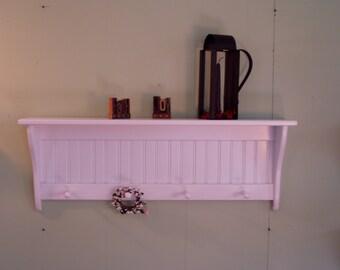 "Rustic Wood Wall Shelf Shaker Style Country Coat Rack 36"" Display Rack"