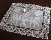 Reserved for Sharon European needle lace, drawn thread work,  table mat, doily, runner, folk art