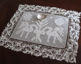 European needle lace, drawn thread work table mat, doily, runner