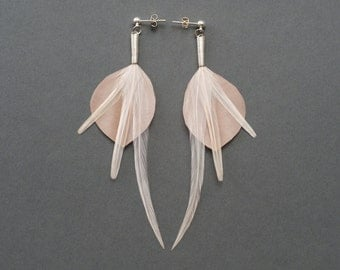 Satin Feather Earrings in Champagne Beige with Long Accents