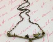 bird necklace - bird on a branch necklace - bird on a branch - nature love necklace - bird branch necklace