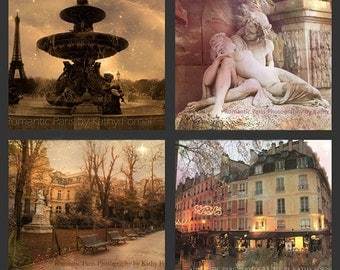 Paris Photogaphy Notecards, Paris Sepia Art, Paris Home Decor, Paris Prints, Paris Note Cards, Paris Sepia Prints, Paris Print Sets Wall Art
