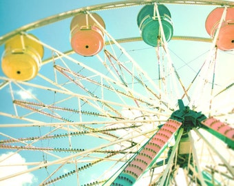 """Ferris wheel carnival county summer fair pop pastel pink yellow  green midway  - """"Under the blue sky"""" 8 x 10"""