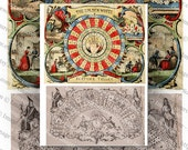 Vintage Fortune Telling and Oracle Illustrations Digital Collage Sheet Large Images Instant Printable Download
