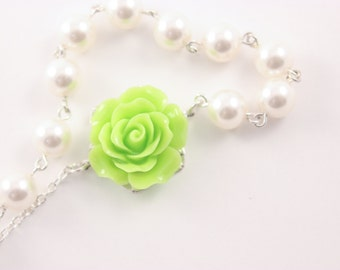 Bridal Jewelry Lime Green Rose and Pearl Bridesmaid Necklace