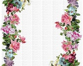 Two Digital Download Forget Me Nots Floral Vintage Pink Roses Flowers Transparent PNG and Instructions to make Waterslide Decals too! ECS