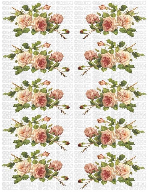 Instant digital download vintage peach rose twigs swag flowers
