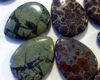 Jasper Tear Drop Pendant Stones Your Choice of Jasper or Kambaba Jasper 1 teardrop beads make great pendants