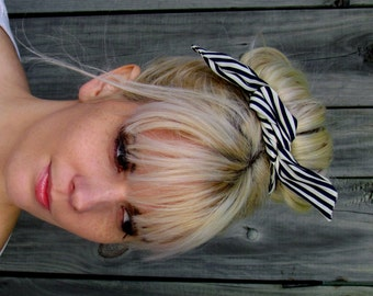 Bun Wire Wrap Black White Stripe Wired Flex Headband Pin Up Girl Buns PonyTail Braid Ins - or Choose Color