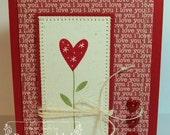 Handmade Stamped Stitched Happy Valentine's Day Heart Flower Card