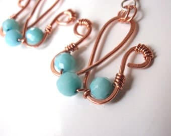 Pure Copper And Blue Coral Wire Wrapped Earrings with Sterling Ear Wires