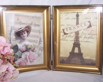 vintage frame french paris pink home decor picture frame digital artwork bedroom decor pink roses eiffel tower gifts for her tan
