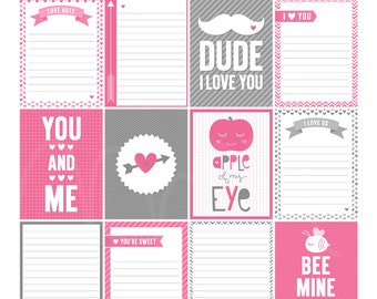 Valentine 2 Digital Journal Cards - 3x4 project life inspired printable scrapbooking journaling note cards  - instant download - CU OK