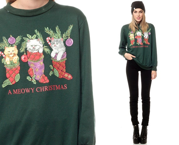 Ugly Christmas Sweater Cat 80s Vintage Animal Sweater Slouchy