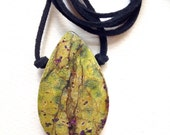 Green and purple Stichtite Pendant in all natural stone 607F