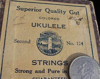 On Sale Ukulele Bruno Red Gut Strings New Old Stock Unused Box of Ten Superior Quality Seconds No 124 KJD
