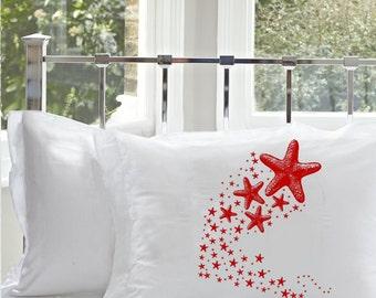 Shooting STARFISH sea stars pillow case galaxy milky way Ocean RED Beach fish unique decor art black white retro sailor Nautical Pillowcase