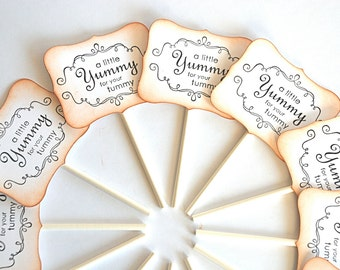 A Little Yummy for your Tummy - Cupcake Toppers/Party Sticks