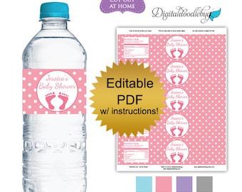 DIY editable printable water bottle labels PDF (No.47) polka dots boy or girl baby shower favors Digital File